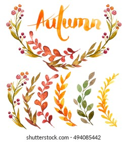 Set of autumn flowers, herbs and leaves painted in watercolor on a white background . Sketch of flowers and herbs with lettering. hand drawn calligraphy. Autumn. Wreath, garland, circle of flowers.