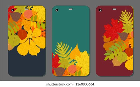 Set of Autumn ornament for mobile phone cover. The visible part of the clipping mask. The sample is ready for printing after the release clipping mask. illustration