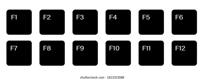 set of auxiliary keyboard keys from F1 to F12. Isolated on white background
