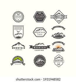 Set of Badges Mountain Adventure Logo