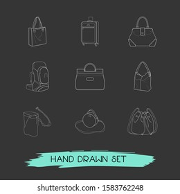 Set of bag types icons line style symbols with hobo, tote, bucket bag and other icons for your web mobile app logo design.