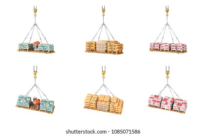 Set of bags with building materials on the crane 3d illustration