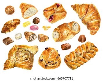 Set of baking in watercolor style. Muffins, bagels, croissants, pastries, bagels and other baked goods. Vintage watercolor concept for bakery or cafe.