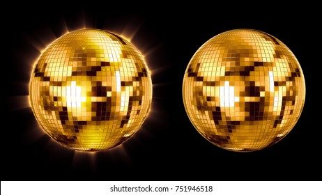 set ball disco gold mirror discoball golden glitter white concept on a black background. 3d render