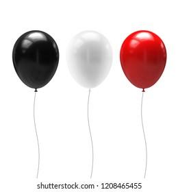 Set of balloons isolated on white background. 3d illustration