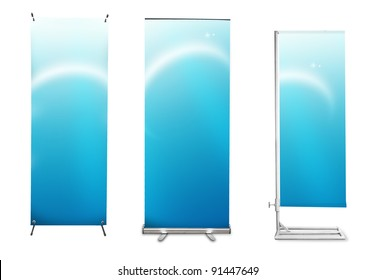 Set of banner stand display with blue identity background ready for use (Save path for design work)