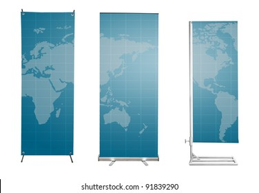 Set of banner stand display with blue World map background. (Save path for design work)