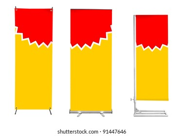 Set of banner stand display with yellow identity background ready for use (Save path for design work))