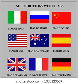 Set of banners with flags. Colorful illustration with flags of the world for web design.