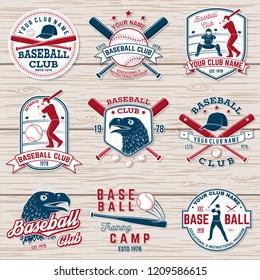 Set of baseball or softball club badge.  Concept for shirt or logo, print, stamp or tee. Vintage typography design with baseball bats, batter hitting ball and ball for baseball silhouette.