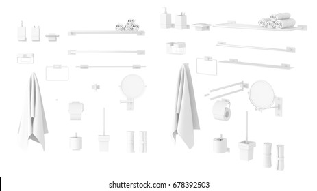 Set of bathroom elements. Bathroom equipment. Bathroom furniture isolated. Front Isolated on White Background.Easy editable for your design.3d rendering