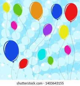 Set of beautiful colored balloons with ropes flying against the blue sky with stars