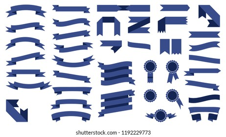 Set Of Beautiful Colored Blue Ribbons.Elements For Your Design  Illustration
