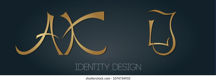 Set of beautiful monograms with letters AK and LJ for logotype design and branding