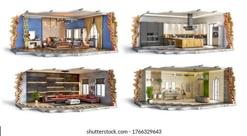 Set of bedroom, kitchen, bathroom and living room interiors, 3d illustration