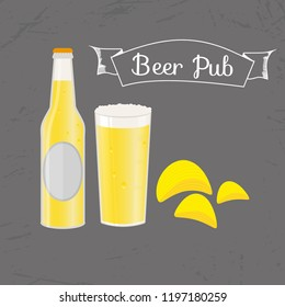 Set of beer bottle, mug and snack made in flat style. Light beer with crispy potato chips. illustration for banners, posters, restaurant and pub menu.