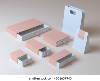 Set beige box 3d rendering