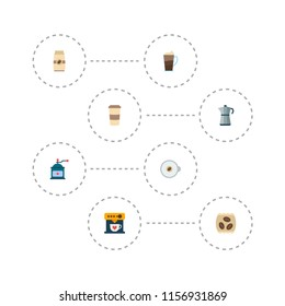 Set of beverage icons flat style symbols with percolator, mocha grinder, cappuccino to go and other icons for your web mobile app logo design.