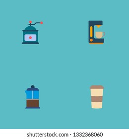 Set of beverage icons flat style symbols with pot, coffeemaker, mocha grinder and other icons for your web mobile app logo design.