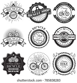 Set of bicycle repair shop labels and design elements in vintage black and white style. Bike logo, symbols, emblems.