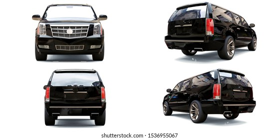 Set big black premium SUV on a white background. 3d rendering.
