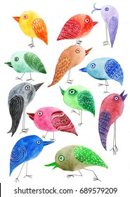 Set of bird watercolor illustration of a cartoon raster for print on textile or postcard cute hand drawing