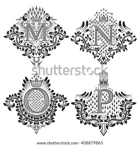 Royalty Free Stock Illustration Of Set Bitmap Ornamental Monogram