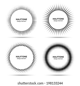 Set of Black Abstract Halftone Circles, raster illustration
