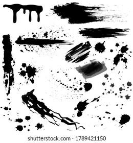 set of black blood or ink splashes, ink blots. Black splatters illustration set.