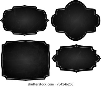 A set of black chalk board frames and borders.