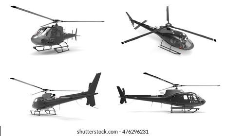 Set black civilian helicopter on a white uniform background. 3d illustration.