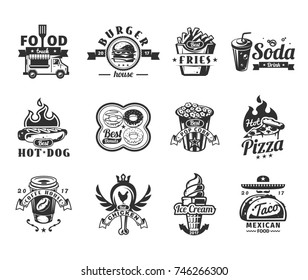 Set of black fast food icons, badges with food truck, hamburger, pizza, ice cream, hot dog, roast chicken, french fries, taco, donut, coffee and pop corn