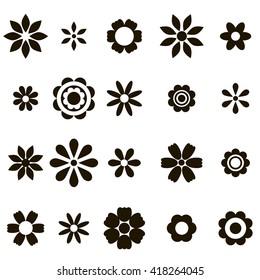 set of black flat flower icons. Raster version