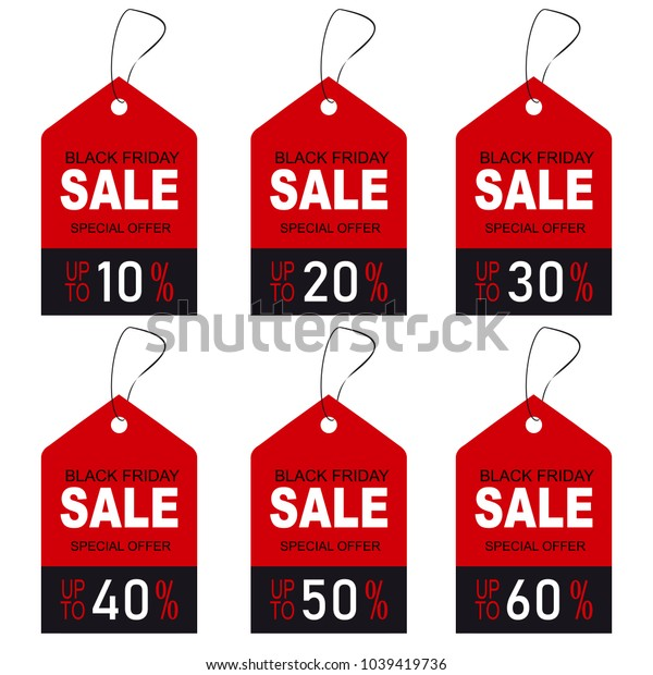 Set of black friday price discount. Sale tags, label, banner.