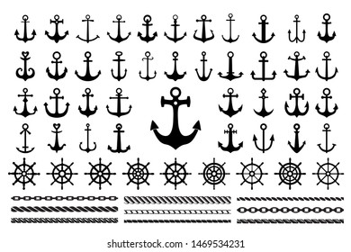 Set of black icons  of sea theme -  anchors, ropes and sea wheels