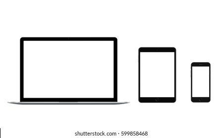 Set of black laptop, tablet and phone mock up, all single and isolated on white background, with blank screens. 4k realistic template.