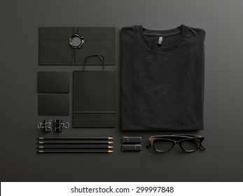 Set of black mockup elements on the blank background. 3d render