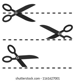 Set of Black Scissors with Cut Lines Isolated