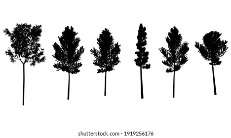 set black shadow tree grey symbol forest isolated design. tree at hill silhouette. 3d render.