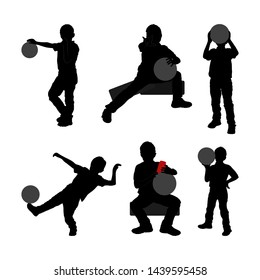 Set of black silhouette of child with ball and can of drink. white background. Collection various pose. sits, plays, stand. Element for design, children s store, party, sport shop illustration