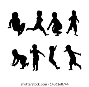 Set of black silhouette of child on white background. Collection various forms, pose. Jumps, sits, plays,walks, running, dancing. Elements for design, children s store, party Vector illustration