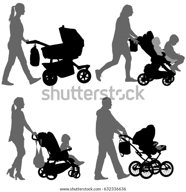 Set black silhouettes Family with pram on white background. illustration.
