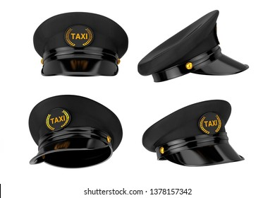 Set of Black Taxi Driver Caps with Goldan Cockade and Taxi Sign on a white background. 3d Rendering