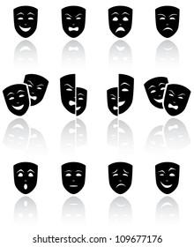 Set of black Theatrical masks on white background, illustration