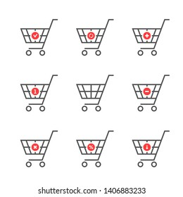 set of black thin line shopping cart logo. flat stroke style logotype graphic art design isolated on white background. concept of group of pushcart pictogram with wheels for selling in web store