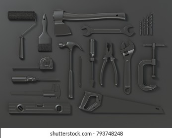 Set of of black tools isolated on black background. Mock up. With paths 3d illustration