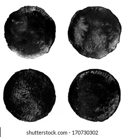 Set of black watercolor circular backgrounds, raster illustration