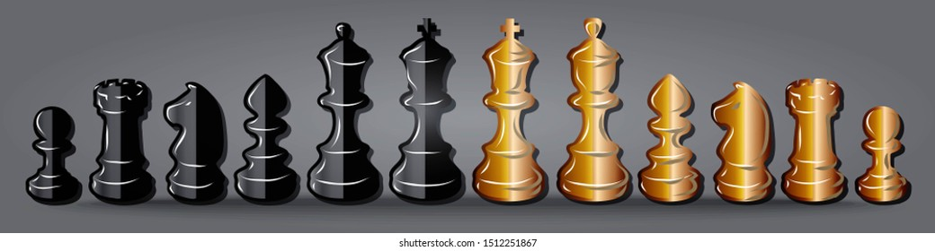 Set black and white golden  chess pieces , chess figure , king. queen, bishop, knight , pawn, rook isolated on grey background raster illustration