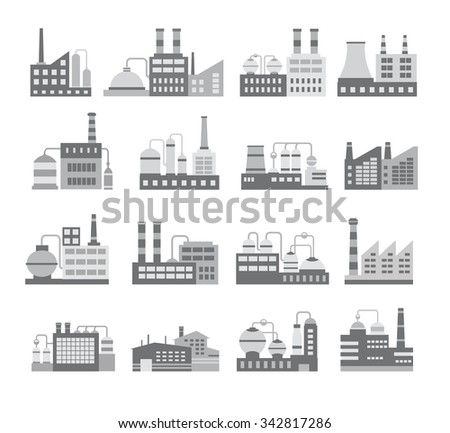 Royalty Free Stock Illustration of Set Black White Industrial ...
