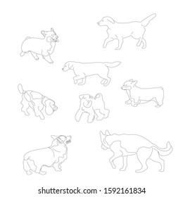 Set of black and white multiple breed dogs, corgi, retriever, shepherd, terrier, spaniel. Isolated on white background. Flat style cartoon stock illustration.